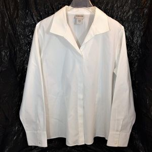 Chico's White Button Front Long Sleeve Blouse